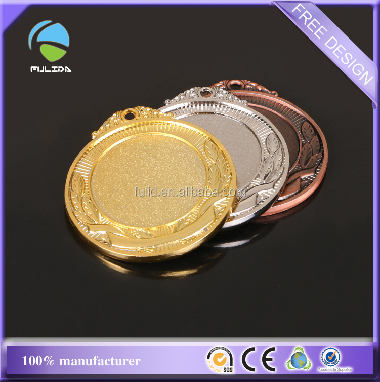 Design Your Own Custom Metal Crafts Production Zinc Alloy Blank Gold Award Metal Sport Medal with Ribbon