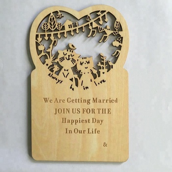 laser cut Wooden Heart Shape wedding invitation post card