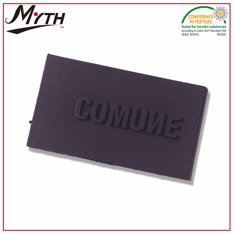 MYTH brand 3d silicone clothing label,embossed rubber patch,PVC rubber 3d patch