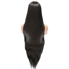 30 inch Black Silky Straight Synthetic Lace Front Wigs Glueless Heat Resistant Fiber Hair Wig For Women Black Hair L Side Part