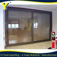 double glazed aluminium doors and windows comply with AU & NZ standards /Aluminium lift and sliding doors with blinds inside