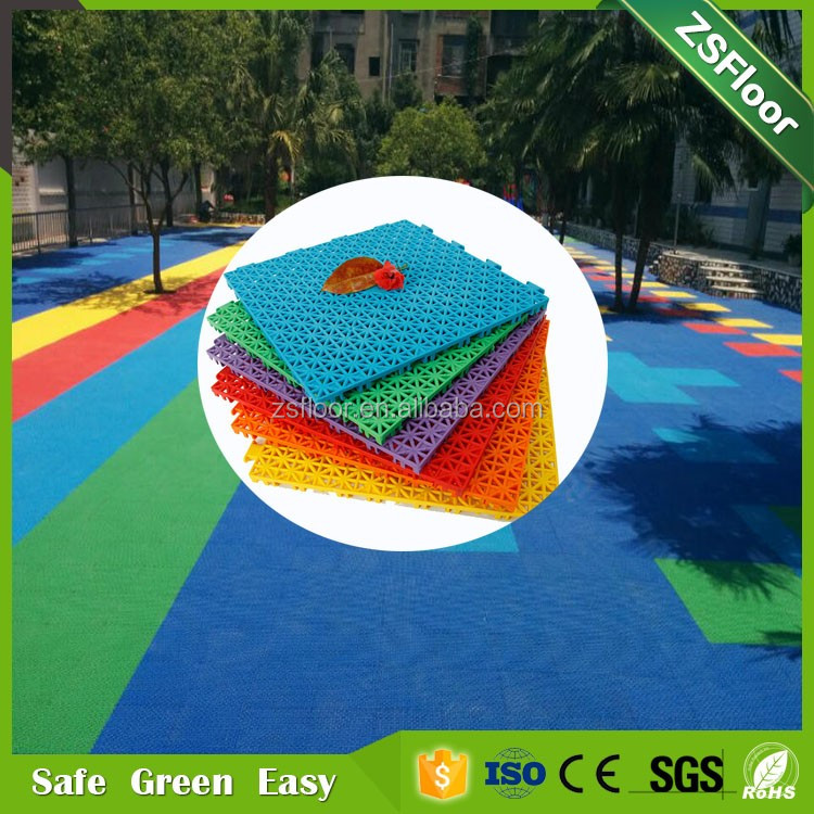 Palstic flooring supplier playground rubber plastic flooring tile surfacing