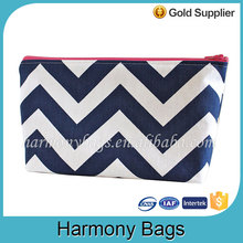 Classic design canvas zippered chevron makeup bag
