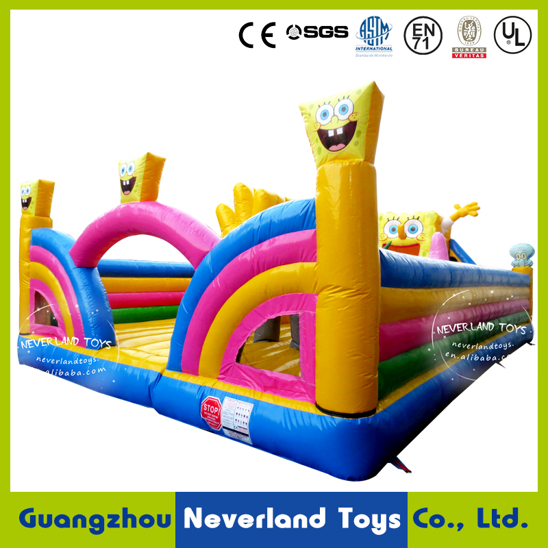 Hight Quality NEVERLAND TOYS Funning Bounce Castle Giant Inflatable Bouncer SpongeBob Fun City for Kids Hot Sale