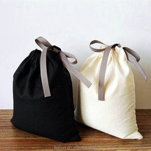 Promotional Cotton Muslin Bag with Ribbon Drawstring