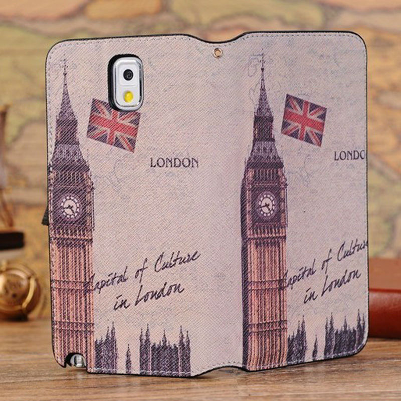 Retro Old Paris LA Tour Eiffel Tower Leather case For samsung Galaxy N9000 note 3 III