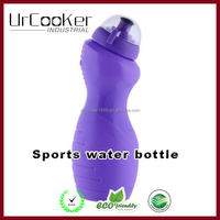 Purple plastic sports water bottle with lid