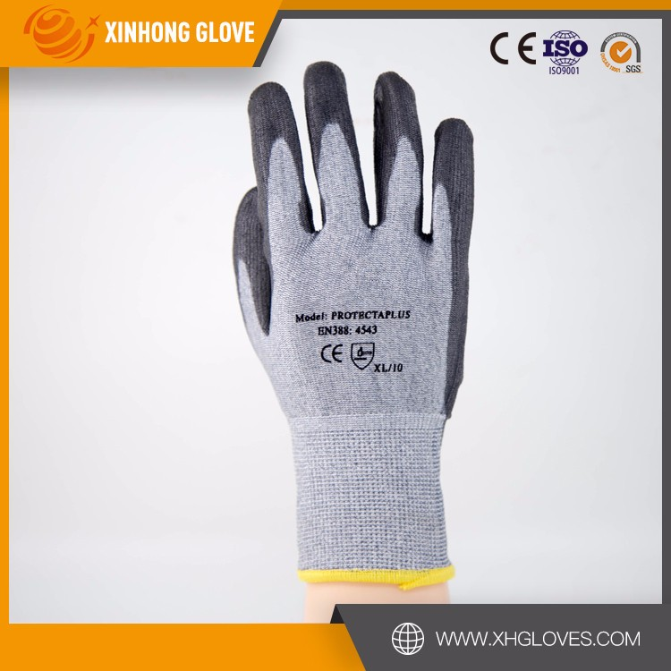 Hot selling 13g fleck white chineema liner grey pu plam coating cut resistant glove for wholesales