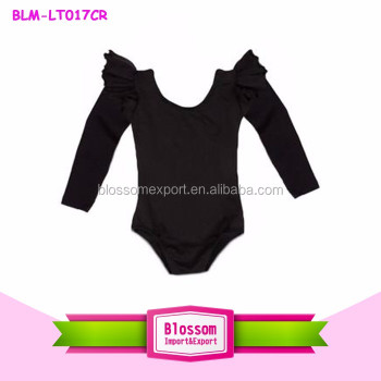Black long sleeves leotard girls gymnastics leotards kids flutter sleeve leotard