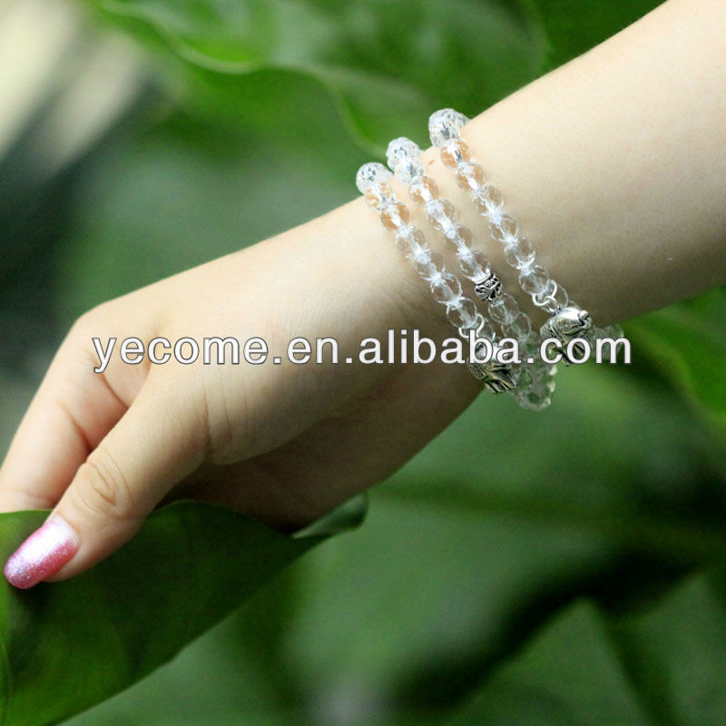 Natural white crystal round bead bracelet