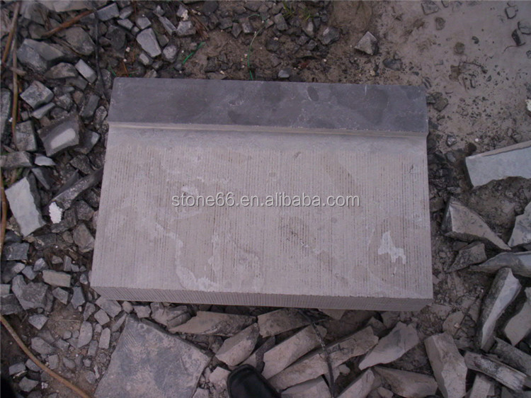 cheaper blue limestone with bush hammered pave