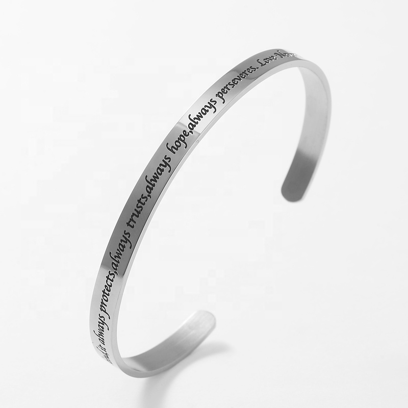 LOORDON Stock Stainless Steel <strong>Always</strong> <strong>trust</strong> engraved cuff bangle