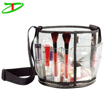 Cosmetic Round Carry Pvc Mini Makeup Pack Beauty Clear Cosmetic Bag With External Pockets