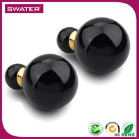 New Technology Black Pearl Women Sexy Earring Double Sided