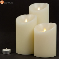 Luminara 3 Wax LED Candle Lights Dancing Flameless Battery Operated Pillar Candles