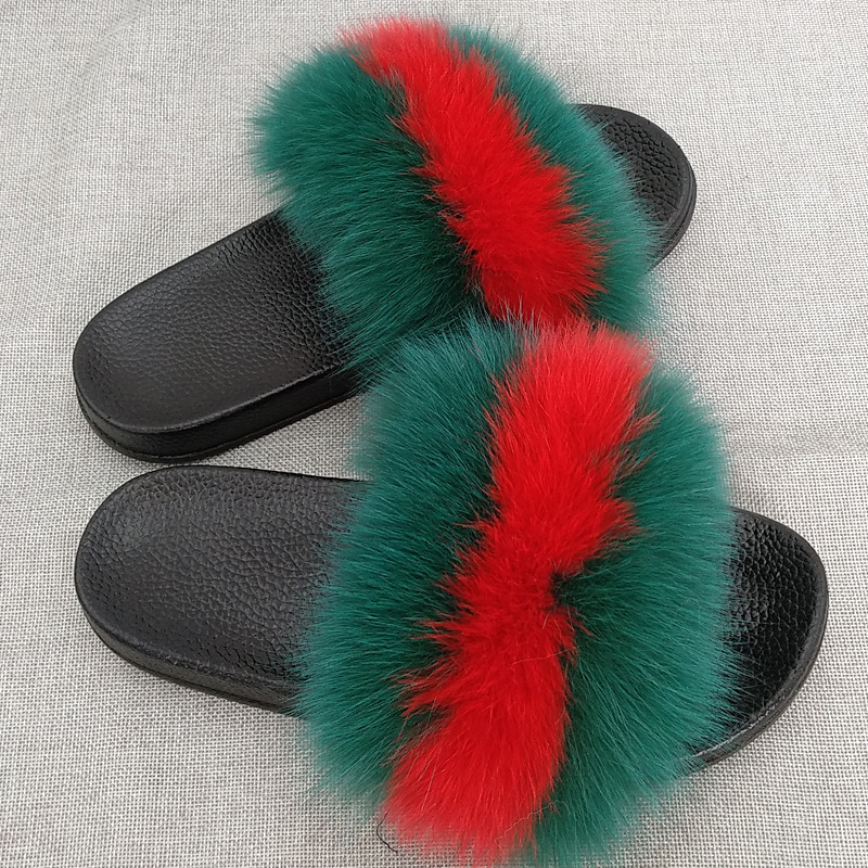 China Supplier Jtfur Wholesale Female Fluffy Fox Fur Sandals <strong>Slides</strong> Spring Outdoor Soft Fur Slippers