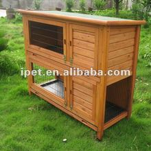 Large 4FT Cheap Outdoor 2 Storey Wooden Rabbit Cage with Plastic Tray and Run