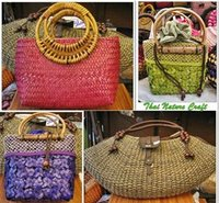 Natural Fashion Handbag with Ribbon