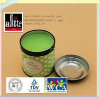 green color 100% paraffin wax scented tin cup candles with cap from allite factory