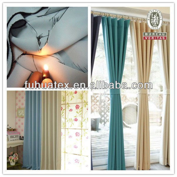 100% Polyester Flame Retardant Blackout Curtain Fabric
