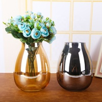 New Design Mercury Hydroponic UV Flower Pot Colorful Electroplating Hand Made Muth Blown Glass Vase