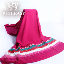 PHILEASY 2012 NEW STYLE 100% rayon plain dyed fabric with lace and emberoidery