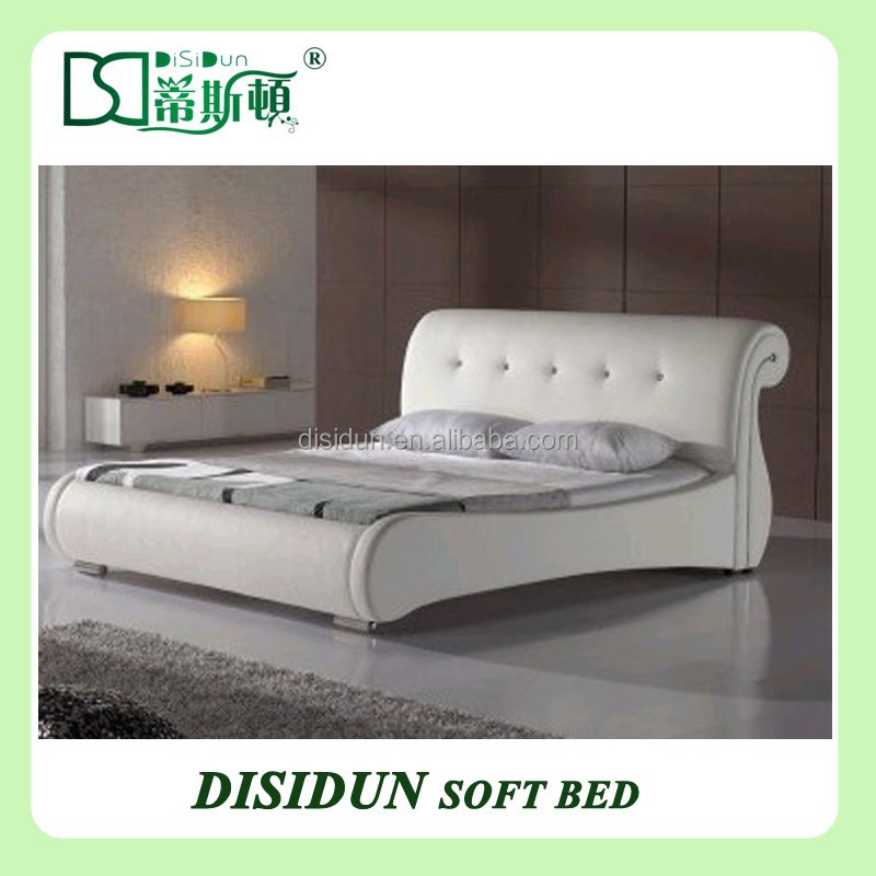Canton leather upholstered bed set, elegant simple design home furniture modern European leather bed