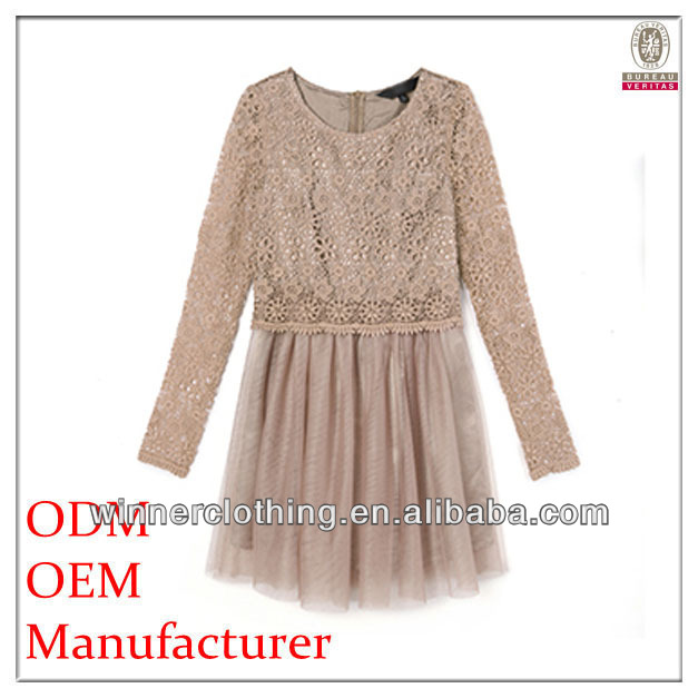 Custom factory garments products ladies' loose-fitting pleated hollow xl sexy clothing with long sleeves