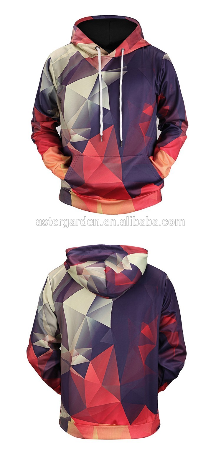 2018 New style spring multicolour 3d geometric lattice printed Hoodies & Sweatshirts sweethearts