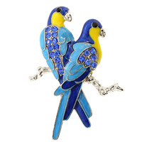 Brooches Store Blue Enamel and Crystal Woodpecker Bird Brooch