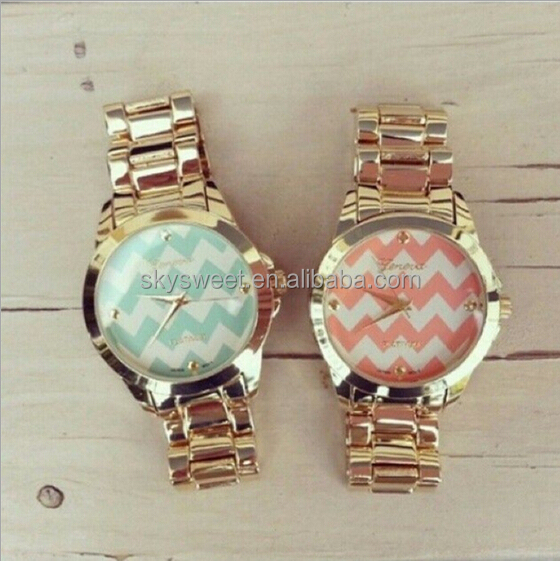 zinc alloy watch band,gold plated watch,simple charm watch