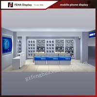 Playwood wall glass store mobile phone display showcase with mobile phone shop interior design