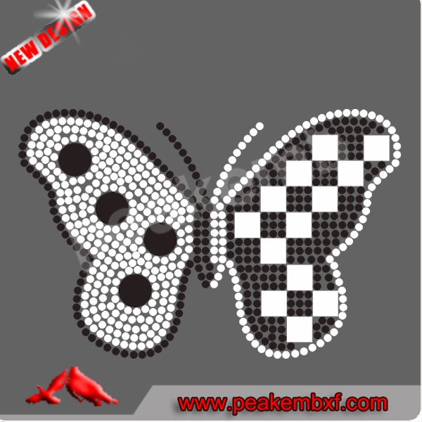 Hotfix Motif Butterfly Rhinestones Mesh Trimming Transfer Pattern for Garment and Decoration