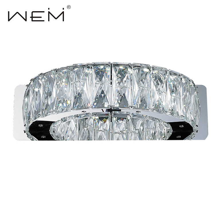 Hotel Home Bedroom Luxury Modern Clear K9 Crystal Decorative Indoor Led Wall Lamp