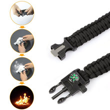 Outdoor Camping Survival Parachute Bracelet With Whistle Compass Fire Starter
