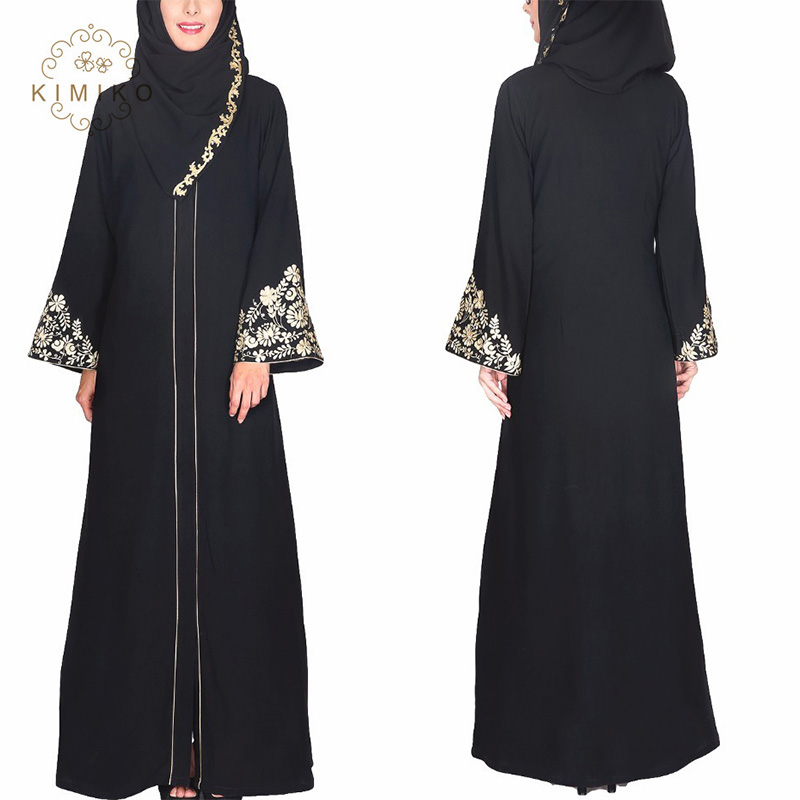 Arabic Women Dress Black Abaya Fashion Embroidered Floral Maxi