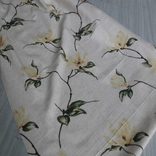 Custom made floral design linen material printed curtain drapery fabric wholesale
