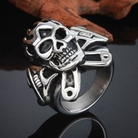 Alibaba China supplier wholesale stainless steel male skull ring