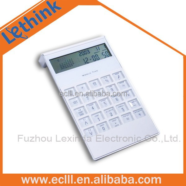 L shape square root 10 digit desktop calendar calculator with clock