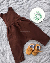 Wholesale One Piece Plain Cotton Romper Kids Backless Toddler Leggings Baby Boy Brown Bodysuits