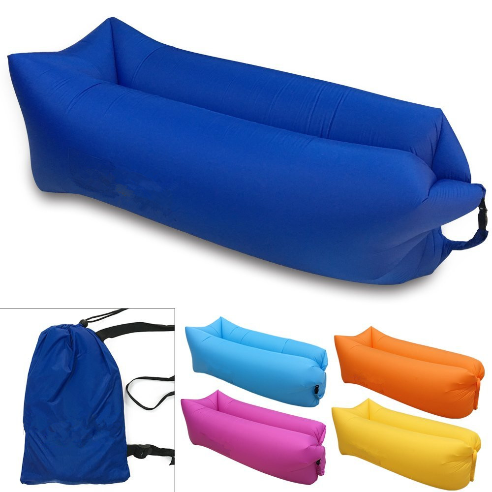 own patent polyester/nylon ripstop air lounger camping sleeping lay bag inflatable sofa laybag