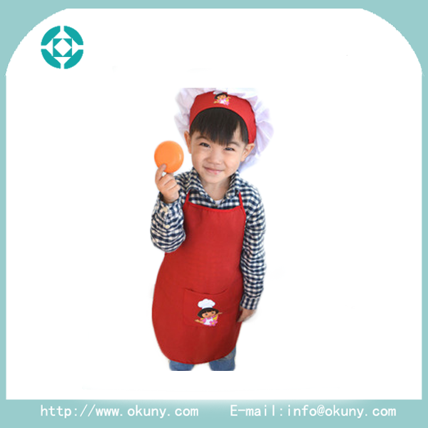 Washable with pocket drawing kids/children polyester apron with pvc