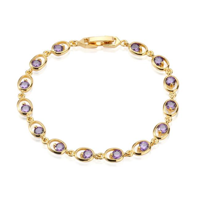 Fashion jewelry Factory 18K gold plated Brass CZ zircon tennis bracelets bangle with purple round gemstone for women