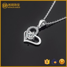 Lady 2015 Charm Fashion 925 Silver Europe and America Jewelry Rhinestone Heart Shaped Pendant Necklace