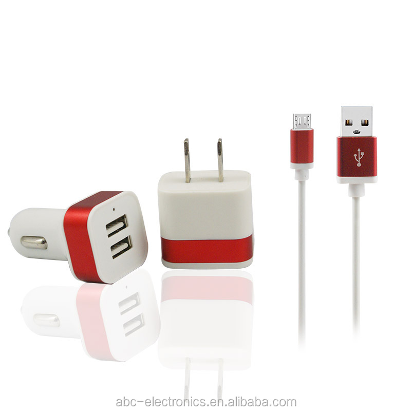 3 in1 metal charger kit, dual usb car charger +wall charger + mirco usb cable/usb cable for iphone