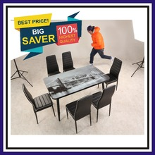Colette home furniture tempered glass dining table/ dining chair PU cheap dining set