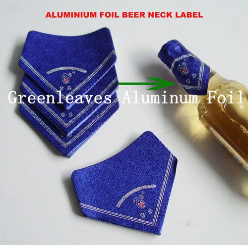 New cheap embossing aluminium foil beer neck label
