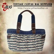 New Design National Cotton Canvas Printed Handbags With Leather For Ladies/Teens
