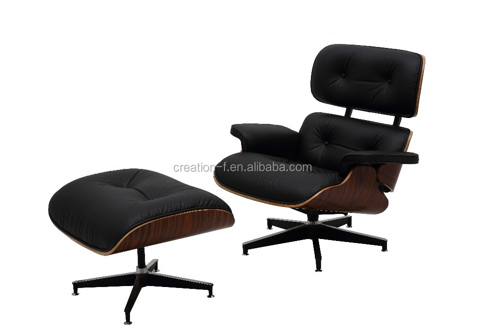 Comfortable Emes Charles Lounge Chair and Ottoman in Genuine Leather for living room