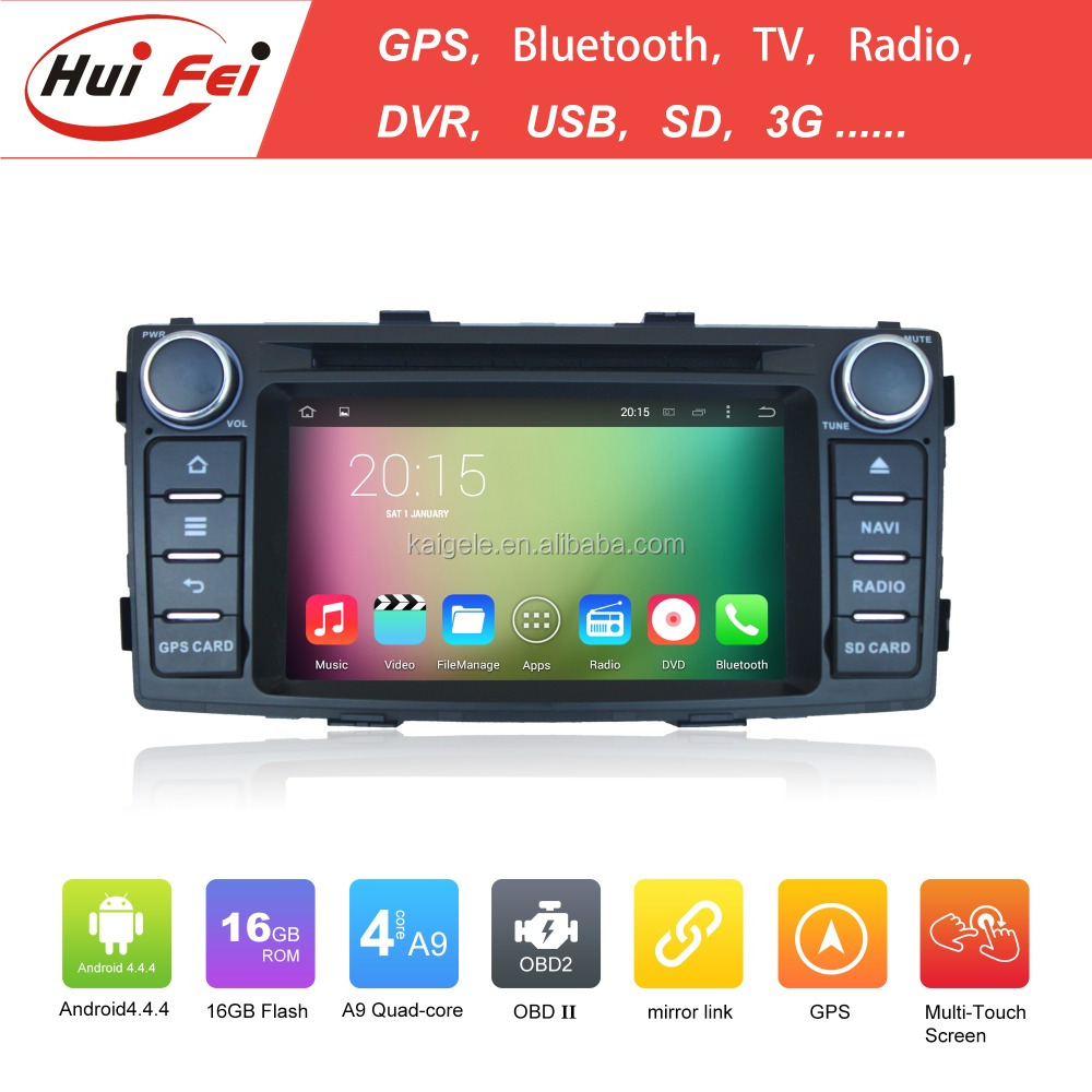 Quad core A9 16GB android 4.4.4 1024*600 HD car dvd player for TOYOTA Hilux 2012